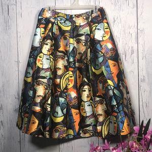 Banjul Faces Multicolor Print Pleated Full Skirt L